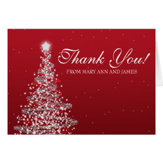 """Christmas Wedding """"Thank you"""" Red Silver Card"""