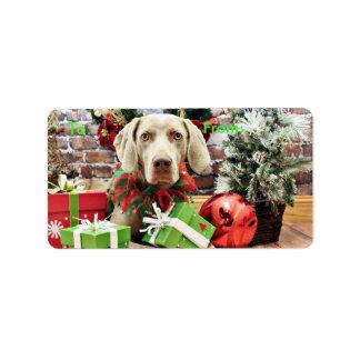 Christmas - Weimaraner - Lucy Custom Address Label