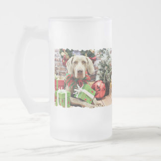 Christmas - Weimaraner - Lucy 16 Oz Frosted Glass Beer Mug
