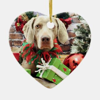 Christmas - Weimaraner - Lucy Ornament