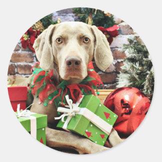 Christmas - Weimaraner - Lucy Sticker