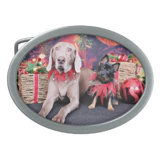 Christmas - Weimie Ben - YorkiePoo Stella Oval Belt Buckle
