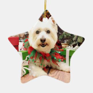 Christmas - West Highland Terrier - Abby Double-Sided Star Ceramic Christmas Ornament