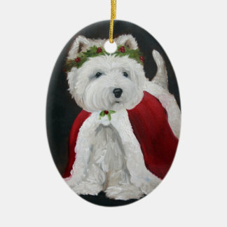 Christmas West Highland Terrier ornament Santa