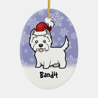 Christmas West Highland White Terrier (add name) Double-Sided Oval Ceramic Christmas Ornament