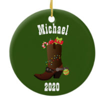 Christmas Western Cowboy Personalized Boot Ceramic Ornament