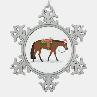 Christmas Western Horse Pewter Snowflake Ornament