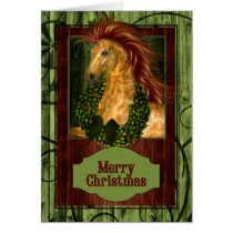 Christmas Western Horse with Green Barnwood Card