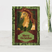 Christmas Western Horse with Green Barnwood Holiday Card