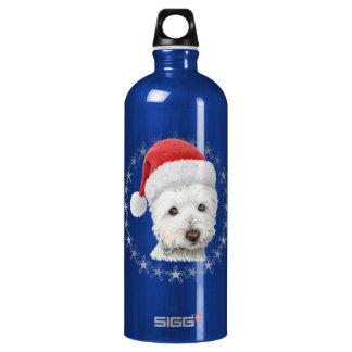 Christmas Westie Dog Art Aluminum Water Bottle