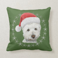 Christmas Westie Dog Art Pillow