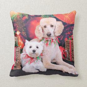 Christmas - Westie JoHannah - Poodle Winston Throw Pillows