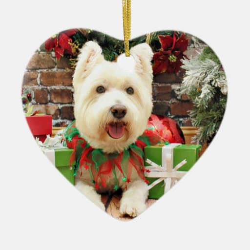 Christmas - Westie - Lucky Double-Sided Heart Ceramic Christmas Ornament