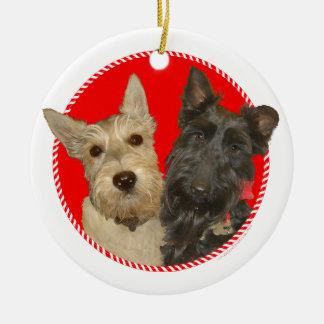 Christmas Wheaten & Black Scotties Ceramic Ornament