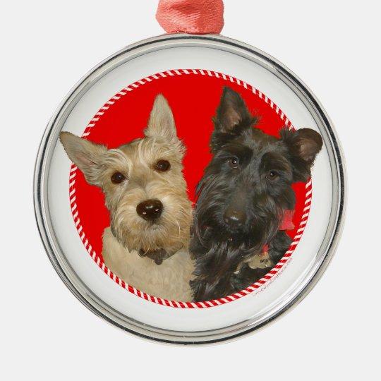 Christmas Wheaten & Black Scotties Metal Ornament