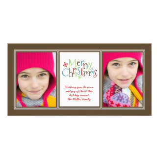 Christmas Whimsy Photo Duo Christmas Greeting Card Custom Photo Card