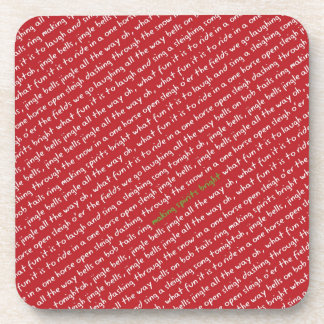 Christmas Whimsy Red Jingle Bells Beverage Coasters