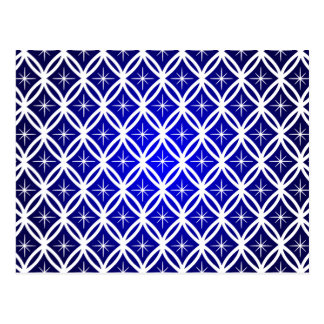Christmas white abstract pattern with stars blue postcard