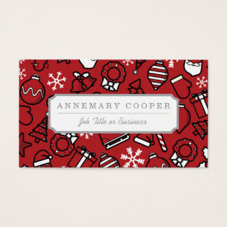 Christmas White and Red Characters Pattern Business Card