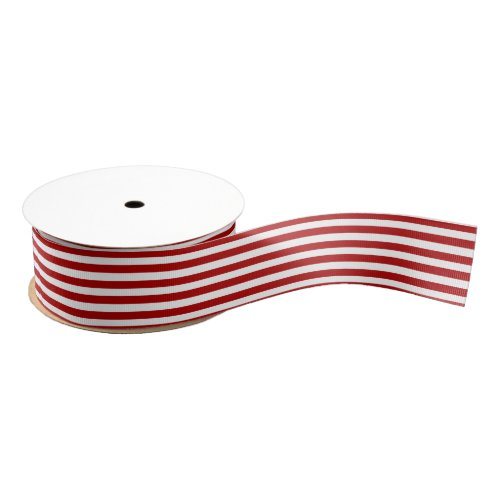 Christmas white and Red Striped Grosgrain Ribbon
