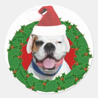 Christmas White Boxer Classic Round Sticker