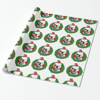 Christmas white boxer dog wrapping paper