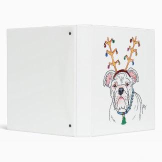 Christmas White Bulldog 3 Ring Binder