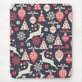 Christmas White Deers and Trees on Blue Pattern Mouse Pad