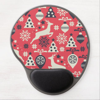 Christmas White Deers and Trees on Pink Pattern Gel Mouse Pad