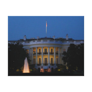 Christmas White House at Night Canvas Print