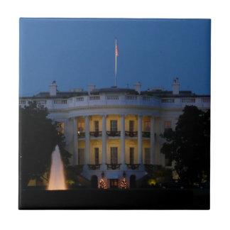 Christmas White House at Night Ceramic Tile