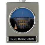 Christmas White House at Night in Washington DC Silver Plated Banner Ornament