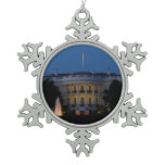 Christmas White House at Night in Washington DC Snowflake Pewter Christmas Ornament