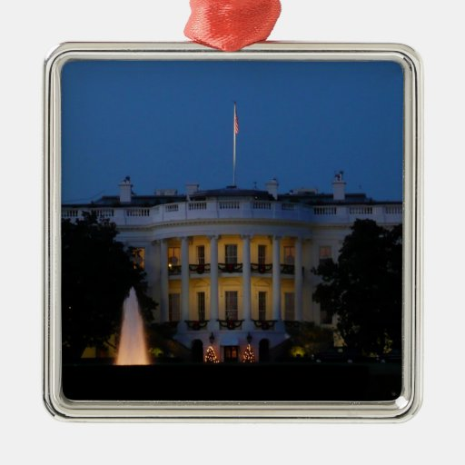 Christmas White House at Night Ornament