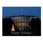 Christmas White House at Night Postcard