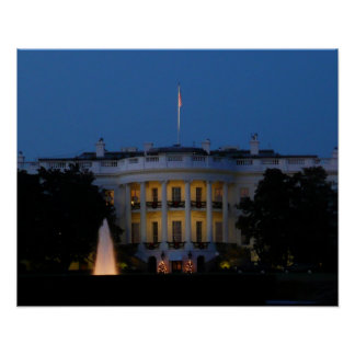Christmas White House at Night Poster Print
