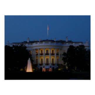 Christmas White House at Night Print