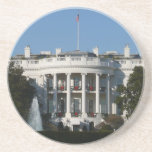 Christmas White House for Holidays Washington DC Sandstone Coaster
