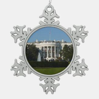 Christmas White House for Holidays Washington DC Snowflake Pewter Christmas Ornament