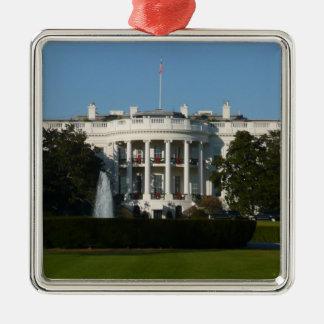 Christmas White House for Holidays Washington DC Square Metal Christmas Ornament