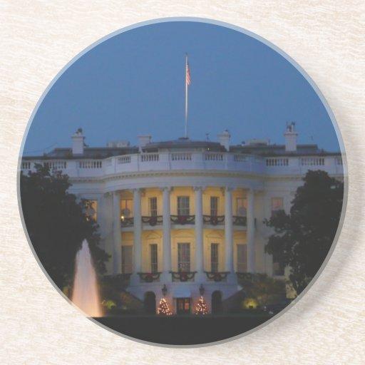 Christmas White House Stone Coaster