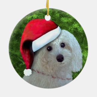 Christmas White Poodle Dog Ceramic Ornament