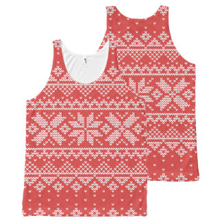 Christmas White & Red Snowflake Knitting Pattern All-Over-Print Tank Top