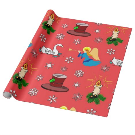 Christmas, White Swans and Brown Top Hats Wrapping Paper