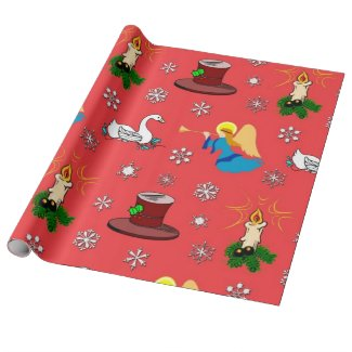 Christmas, White Swans and Brown Top Hats Gift Wrapping Paper
