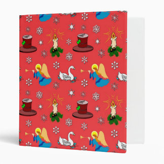 Christmas – White Swans & Brown Top Hats 3 Ring Binder