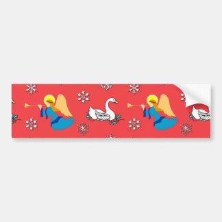 Christmas – White Swans & Brown Top Hats Car Bumper Sticker