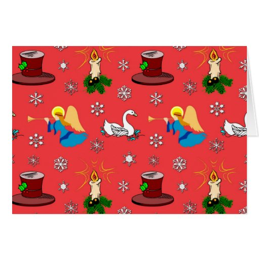 Christmas – White Swans & Brown Top Hats Card