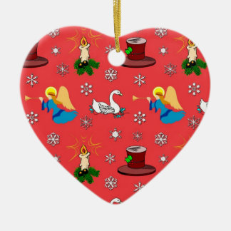 Christmas – White Swans & Brown Top Hats Ceramic Ornament