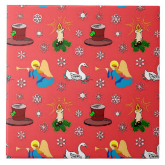 Christmas – White Swans & Brown Top Hats Ceramic Tile